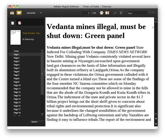 EPUB viewed in Adobe Digital Edition