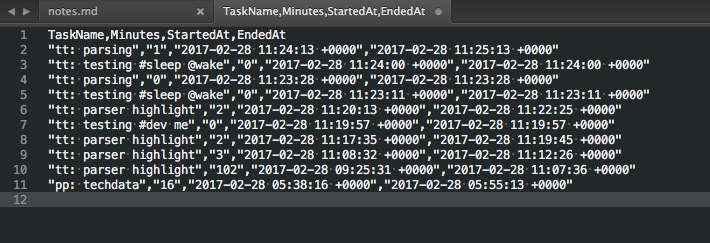 TimeTracker copy data as csv